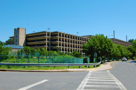 the outside view of the parking garage